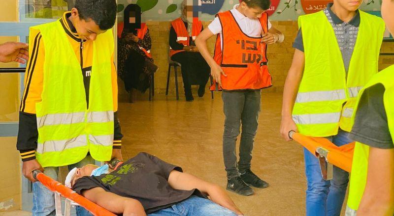 عرعرة النقب: مدرسة السلام الابتدائية تشارك في تمرين الطوارئ للهزة الارضية