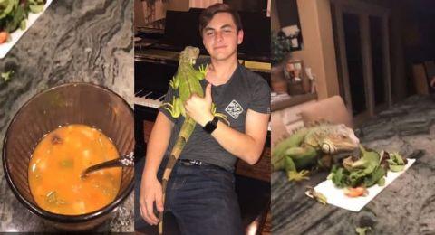 شاب حاول أطعام الإغوانا وتصويرها في موعد غرامي وحقق ملايين المشاهدات