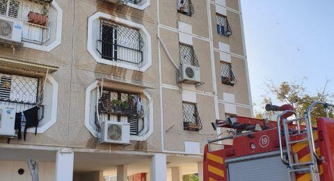 تخليص ٤ عالقين جراء نشوب حريق داخل مبنى في بئر السبع