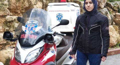 تقود الدراجة النارية للإسعاف، سناء محاميد: لنا دور فعال
