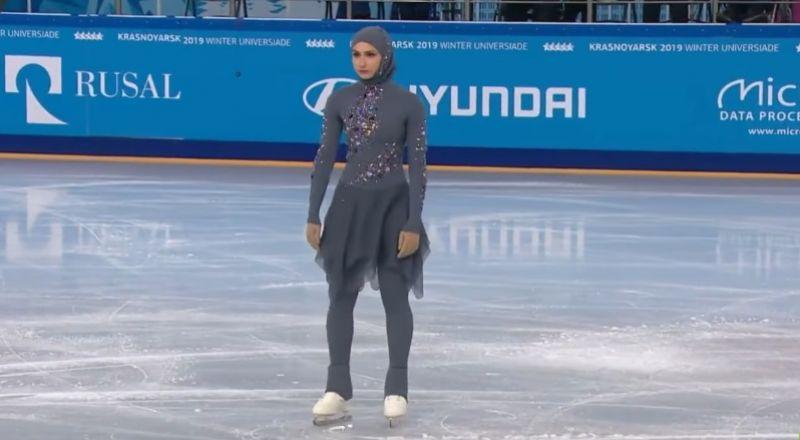 أداء جميل لأول متزحلقة محجبة إماراتية في الألعاب الشتوية في روسيا