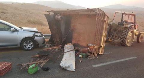 حادث طرق مروع، يسفر عن مصرع طفلة واصابة 8 آخرين