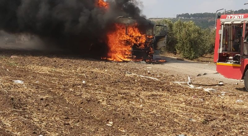 احتراق شاحنة في كفر مصر