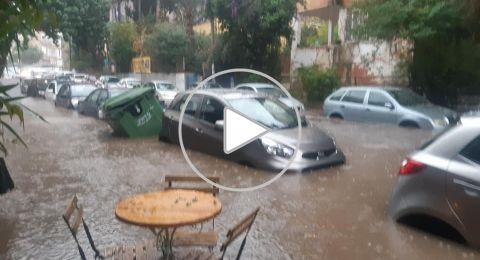 مباشر من حيفا سيول وفيضانات في حيفا تشل حركة السكان