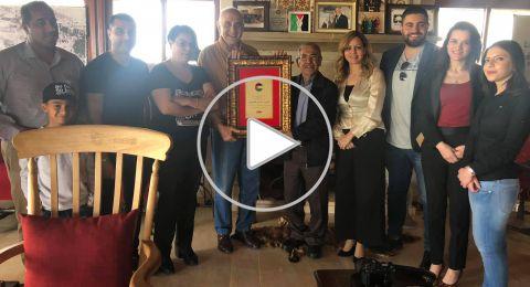 موقع بكرا يكرّم رجل الاعمال الفلسطيني منيب المصري باعتماده رئيساً فخرياً للموقع