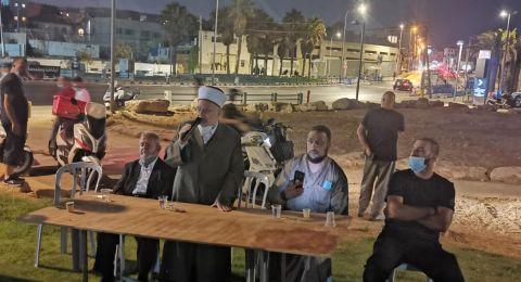 وفد من القدس يزور خيمة الاعتصام في يافا ويتضامن مع اهلها