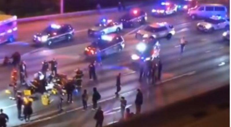 بالفيديو... مظاهرات امريكا وفاة امرأة في حادث دهس مروع