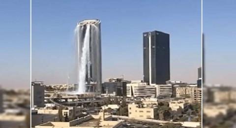 شلال يتدفق من ناطحة سحاب أردنية يثير حيرة المتابعين