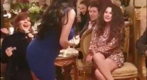 دينا ترقص على غناء اصالة في عيد ميلاد ليلى علوي والهام شاهين