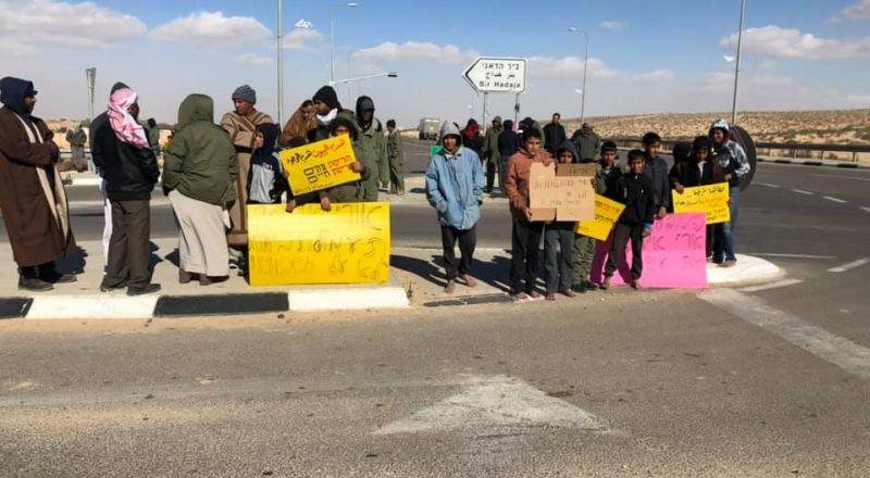 النقب اهالي بير هداج يتظاهرون ضد زيارة أريئيل الاستفزازية