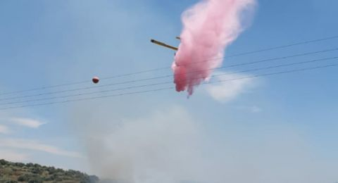 حريق هائل في منطقة وعربية قرب مدينة الطيبة