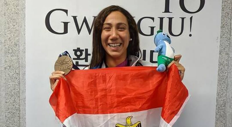 المصرية فريدة عثمان تحرز ذهبية بطولة أمريكا المفتوحة للسباحة