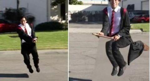 """أمريكي يطير على عصا مكنسة مثل """"هاري بوتر"""""""