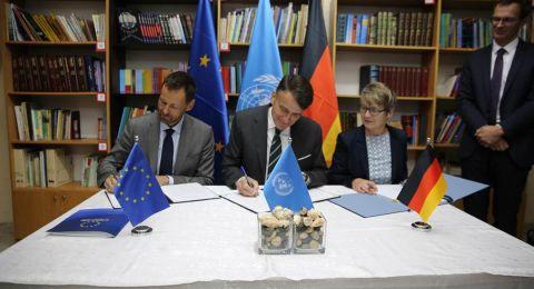 الاتحاد الأوروبي وألمانيا يوقعان اتفاقيات حيوية للتبرع في مدرسة إناث القدس التابعة للأونروا في سلوان بالقدس الشرقية