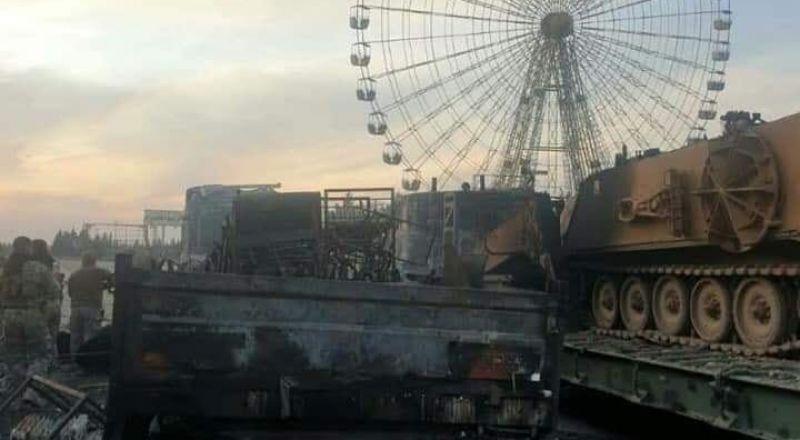 بالصور.. رتل عسكري تركي مدمر جراء
