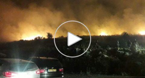 حرائق تحيط سخنين والسنة النيران تقترب من المنازل