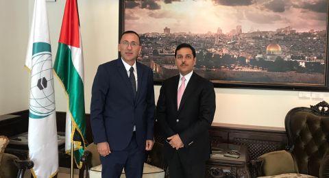 الرويضي يبحث مع السفير الأردني سبل التصدي لإجراءات الاحتلال في القدس