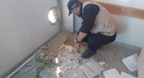 العثور على صاروخ اسرائيلي بمدرسة غرب غزة واضرار بمنازل السكان
