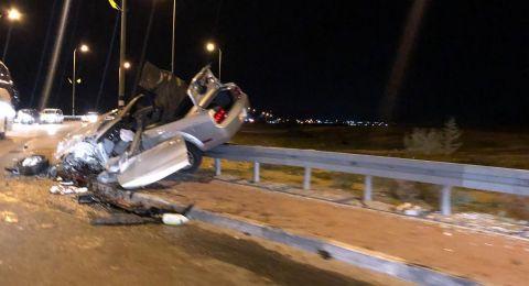 رهط: انقلاب سيارة واصابة شاب بصورة خطرة