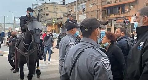 مواجهات في المظاهرة اما بلدية الناصرة