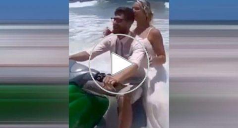 سقوط عروس في الماء أثناء التقاطها صور لحفل زفافها