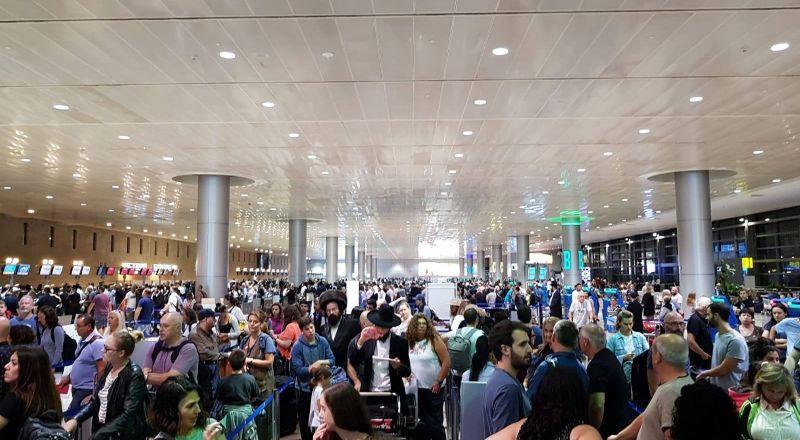 اكتظاظ شديد في مطار بن غوريون بسبب خلل في منظومة الحقائب