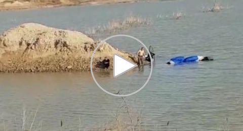 سقوط مظليّ في بحيرة مياه مالحة في الجنوب