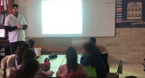 تقديم محاضرة في موضوع الحروق لطلاب مدرسة الفارابي في أم الفحم من قبل كلاليت