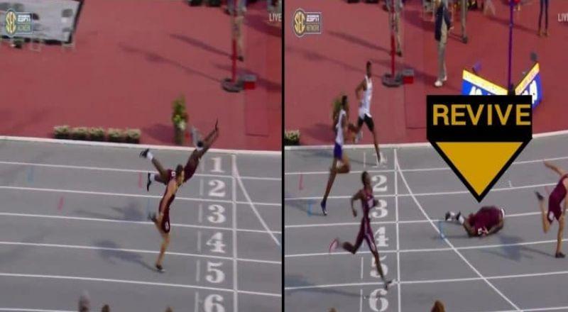 عداء أمريكي يتحول إلى سباح للفوز بسباق 400 متر حواجز
