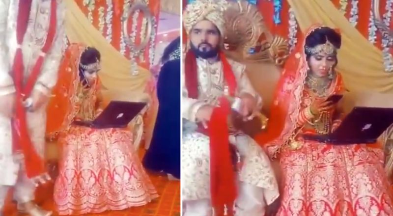 عروس هندية تمارس عملها أثناء زفافها وسط سخرية المعازيم
