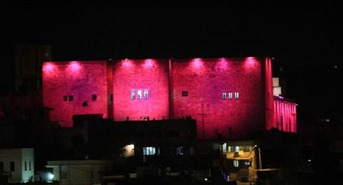 شفاعمرو: إضاءة قلعة الظاهر عمر باللون الزهري .. لأجلكُن