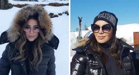 ميريام فارس وأمل بوشوشة تستجمان على الثلج