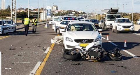 مصرع سائق دراجة نارية في حادث طرق بالقرب من الخضيرة