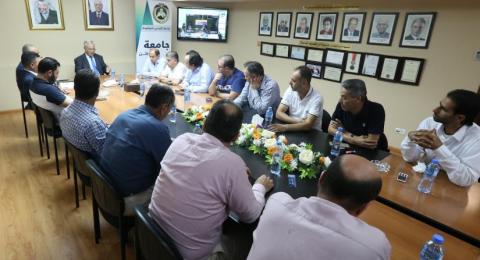 الأطر النقابية والحركية والطلابية تدرس سبل مشاركة فاعلة للجامعة في مباراة فلسطين والسعودية