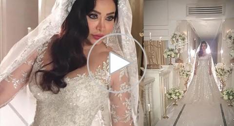 لجين عمران بفستان الزفاف بتوقيع رامي العلي