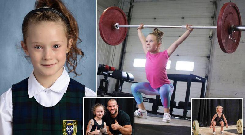 ابنة السبع سنوات ترفع أثقالاً يصل وزنها إلى 80 كيلوغراماً