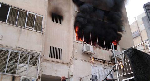 حيفا: اندلاع حريق داخل شقة وتخليص ام وأولادها