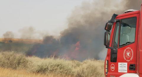 حريق اضافي بجانب رهط ومساعي لإخماده