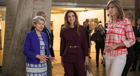إطلالة الملكة رانيا أثناء زيارتها لمنظمة اليونسكو