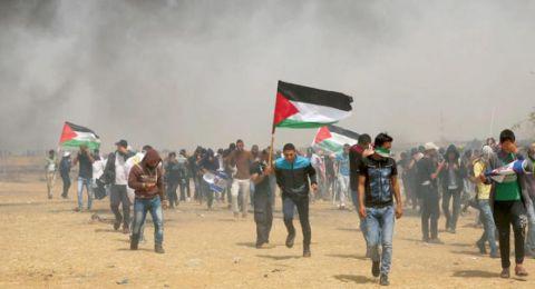اصابات اثر اطلاق الرصاص على عشرات الشبان بدير البلح