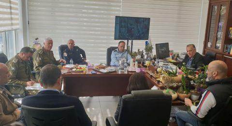 جلسة عمل مع قيادة الشرطة وقائد الجبهة الداخلية في بلدية الناصرة