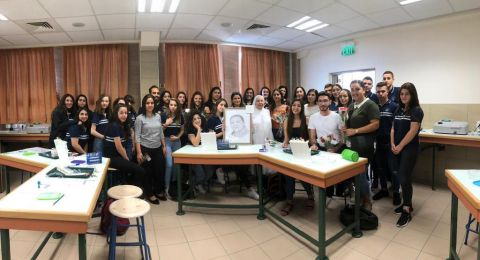 الناصرة: الفوج السابع والستون يزور مدرسة راهبات الفرنسيسكان حاملًا صورة المربي بشارة رزق