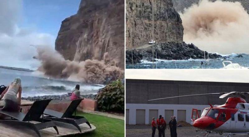 شاهد انهيار جزء من جبل ضخم بالقرب من السياح في جزر الكناري