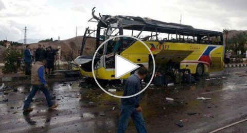 5 قتلى و14 جريحا في إنفجار حافلة سياحية في طابا بسيناء