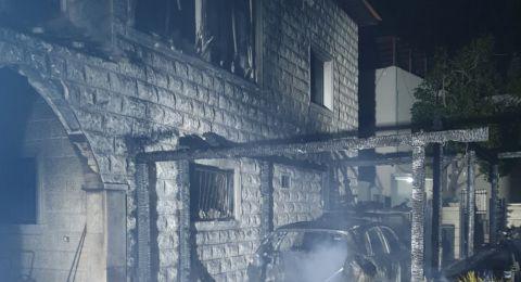 احتراق مركبة يتسبب بحريق في منزل ببلدة يركا