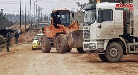 السلطات السورية تباشر فتح طريق حلب دمشق الدولي بعد تحريره (صور)