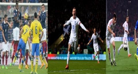روني يقود انجلترا للفوز على اسكتلندا بثلاثية وفرنسا تفوز على السويد وإيطاليا تنجو من كمين ألبانيا