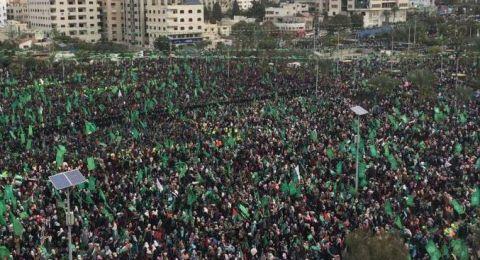 مشاركة حاشدة بمهرجان انطلاقة حماس بغزة