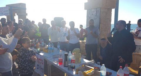 النائب مسعود غنايم يشارك في مظاهرة التّضامن مع هواة صيد السمك في منطقة النّاقورة