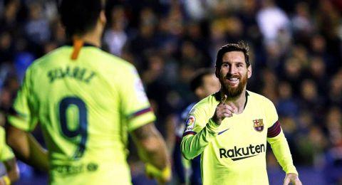 ميسي يقود برشلونة للفوز على ليفانتي بخماسية نظيفة